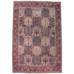 Antique Persian Yazd Palace Rug with Victorian Style and Garden Design