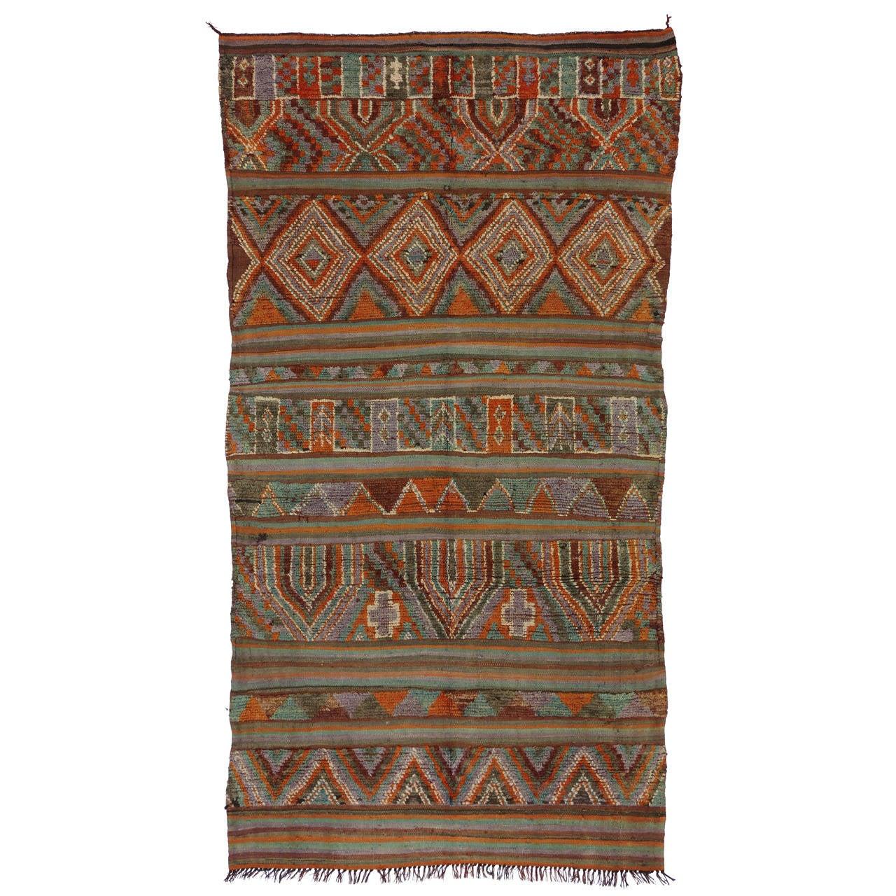 Vintage Moroccan Kilim And Pile Rug At 1stdibs