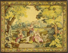 Antique French Rococo Tapestry Inspired by Francois Boucher, Country Romance