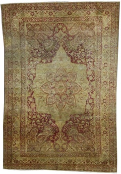 Antique Turkish Hereke Rug with Art Nouveau Style in Muted Colors
