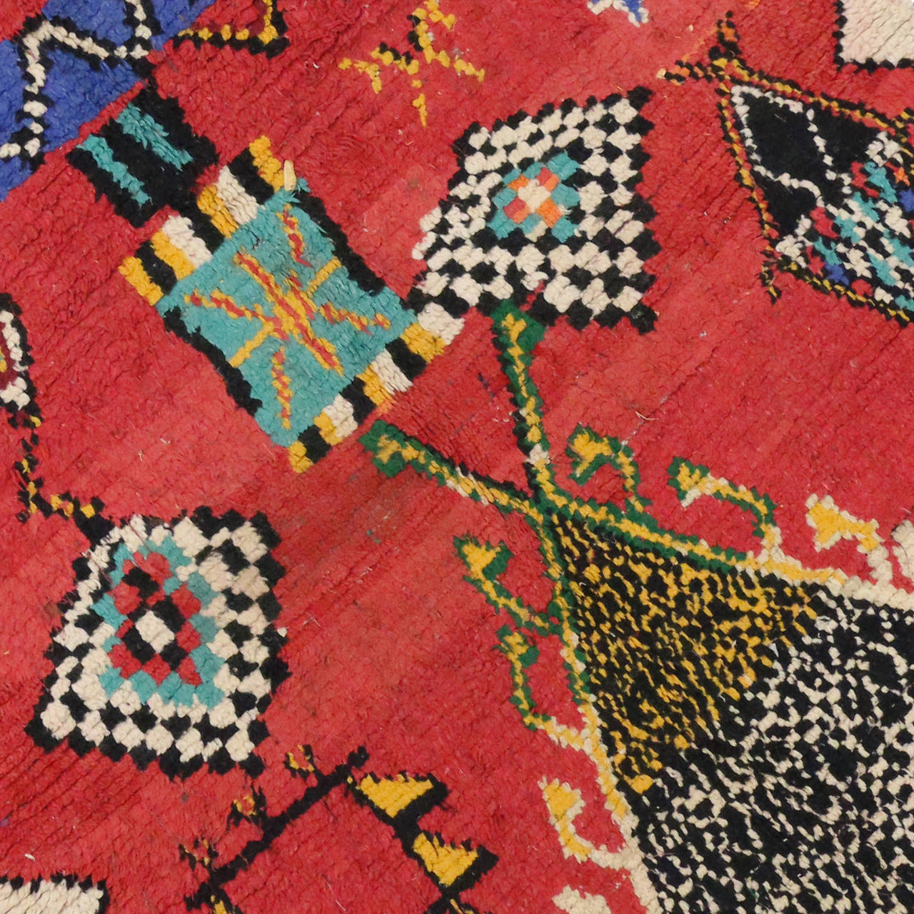 Mid Century Modern Style Red Berber Moroccan Rug With: Mid-Century Modern Berber Moroccan Red Rug With Tribal