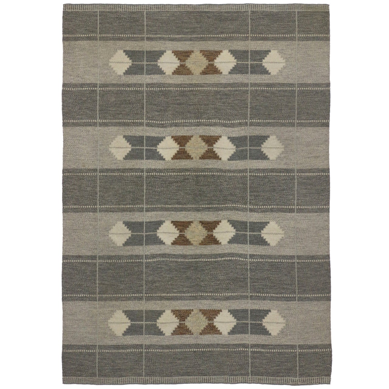Vintage Swedish Rollakan Gray Kilim Rug with Scandinavian Modern Style
