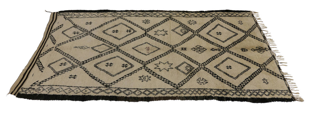 Hand-Knotted Mid-Century Modern Beni Ourain Moroccan Rug with Tribal Symbols For Sale