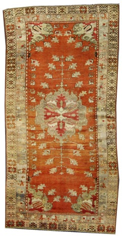 Antique Turkish Oushak Runner with Rustic Cottage Style, Wide Hallway Runner