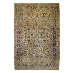 Antique Persian Mashhad Rug with Modern Style in Soft Colors
