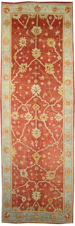 Antique Turkish Oushak Long Area Rug with Arts and Crafts Style