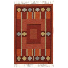 Kerstin Persson Vintage Swedish Rollakan Kilim with Scandinavian Modern Style