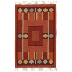 Vintage Swedish Kilim Rug with Scandinavian Modern Style by Kerstin Persson