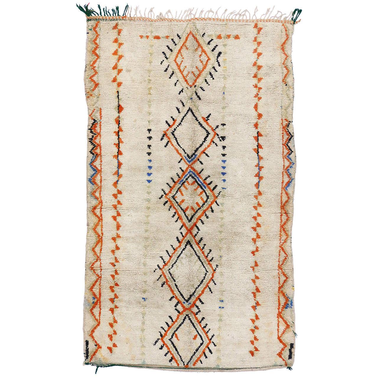 "Vintage Moroccan Area Rug For Sale At 1stdibs: Vintage Berber Moroccan Rug, 04'06"" X 07'06"" At 1stdibs"