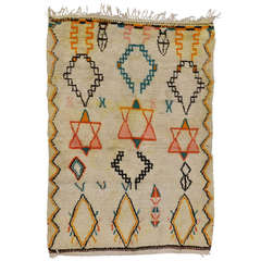Vintage Judaica Moroccan Rug with Stars of David