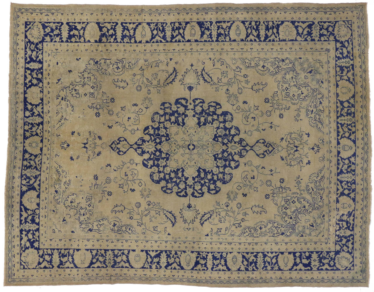SemiAntique Turkish Oushak Rug with Chinoiserie Chic Style For