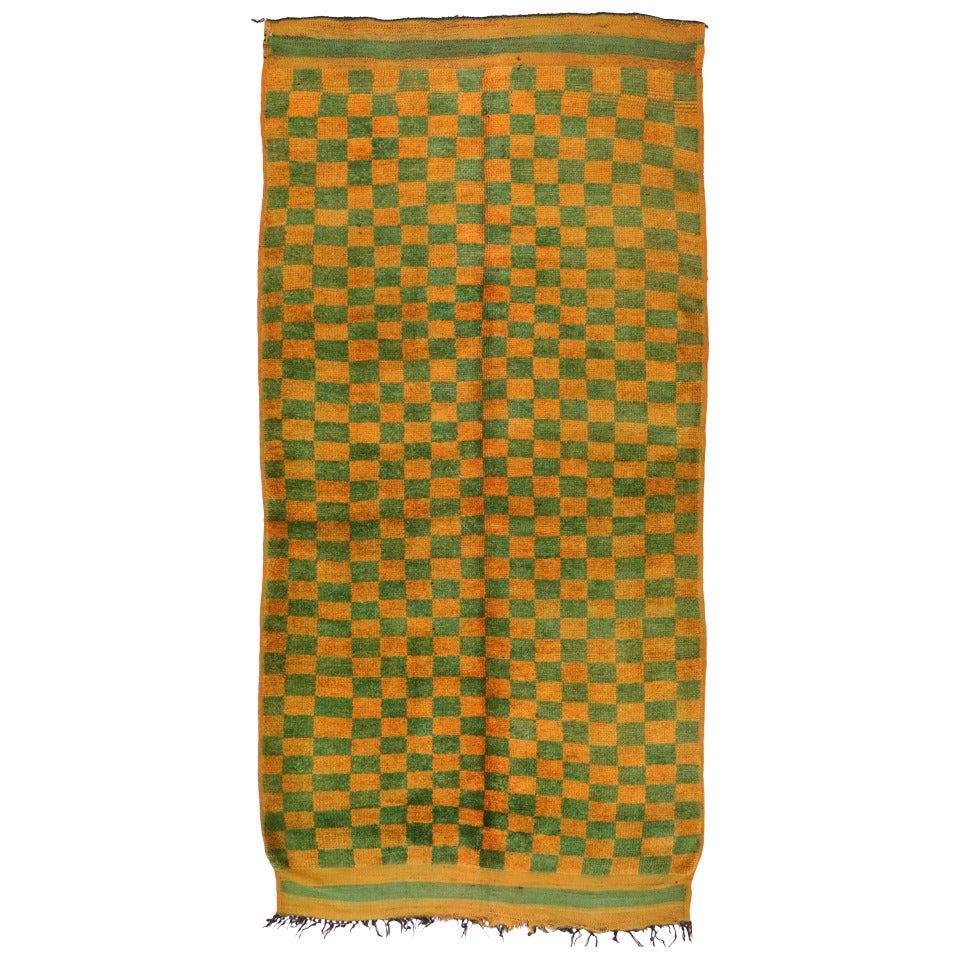 Checkerboard Rug: Vintage Moroccan Rug With Checkerboard Design In Retro