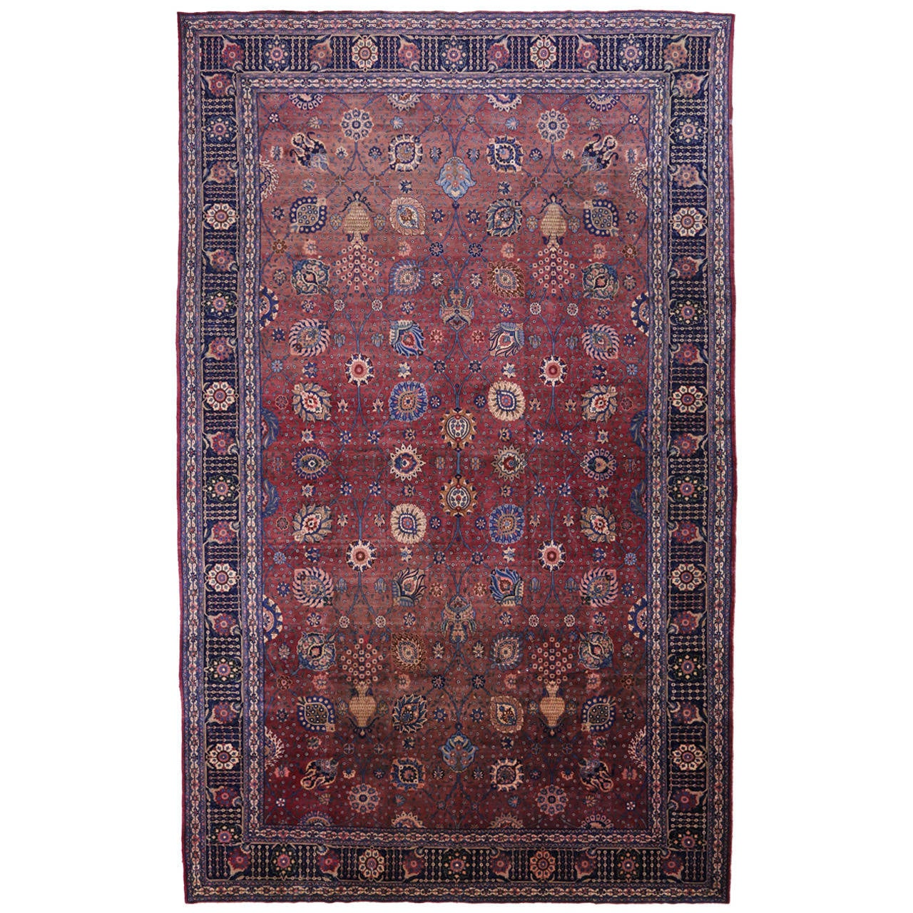 Antique Indian Agra Gallery Rug with Modern Design in Jewel-Tone Colors