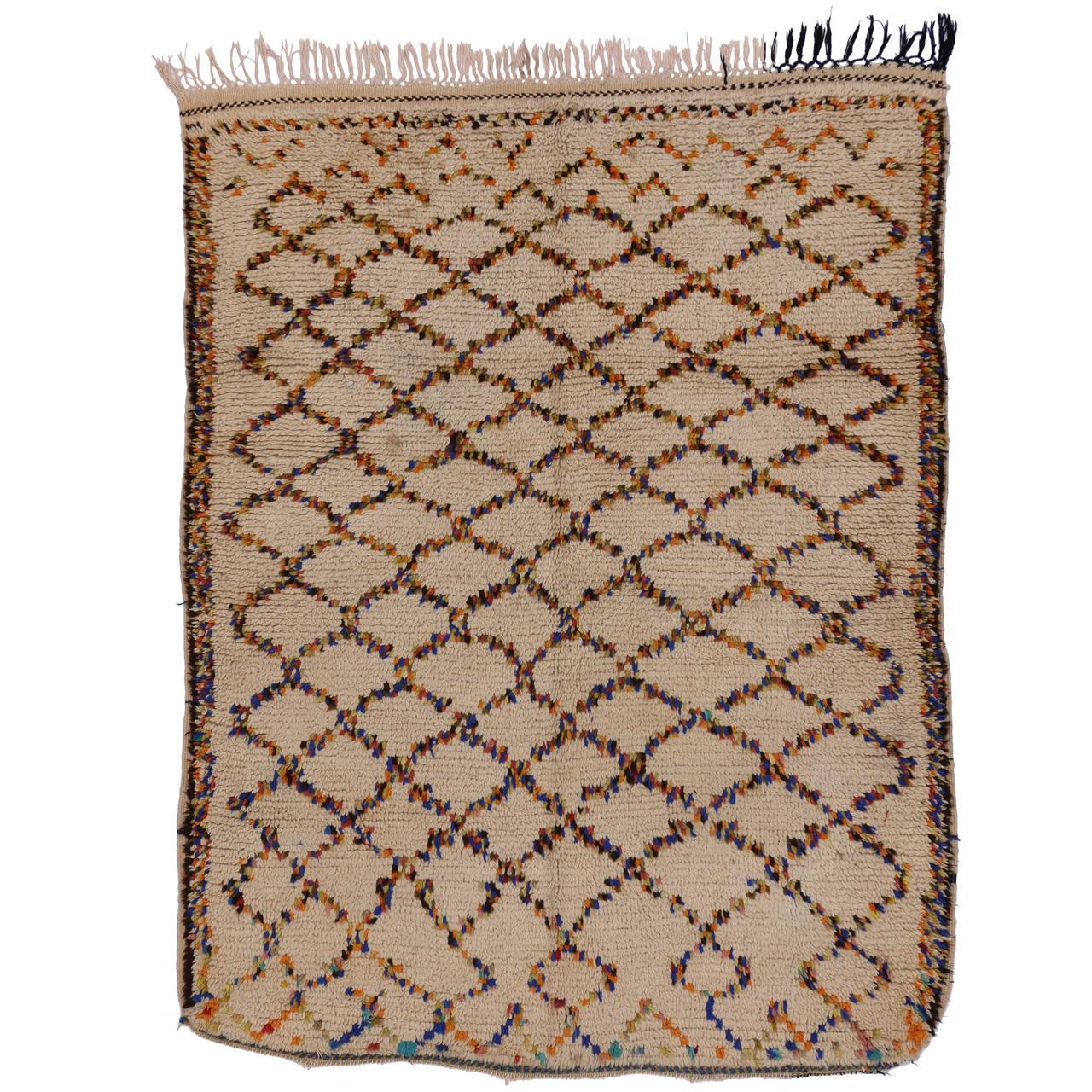 Berber Moroccan Rug With Latticework Design For Sale At