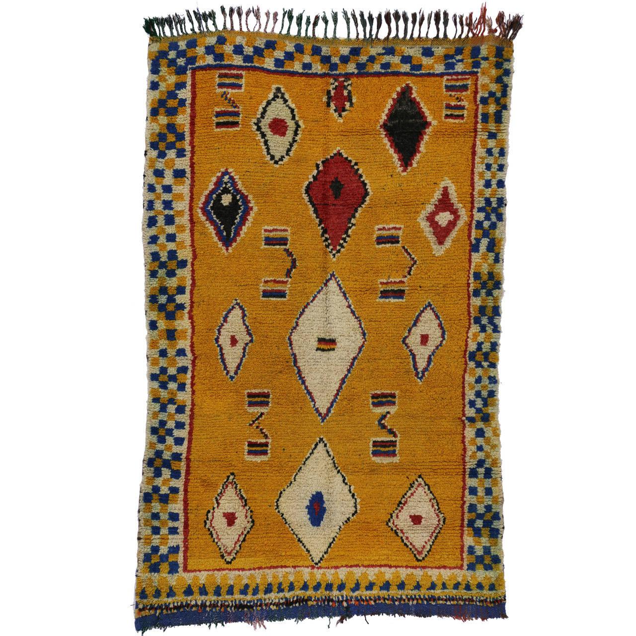 Maroc Tribal Rug: Vintage Berber Moroccan Rug With Modern Tribal Design