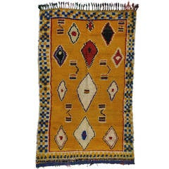 Vintage Berber Moroccan Rug with Modern Tribal Design, Yellow Moroccan Rug
