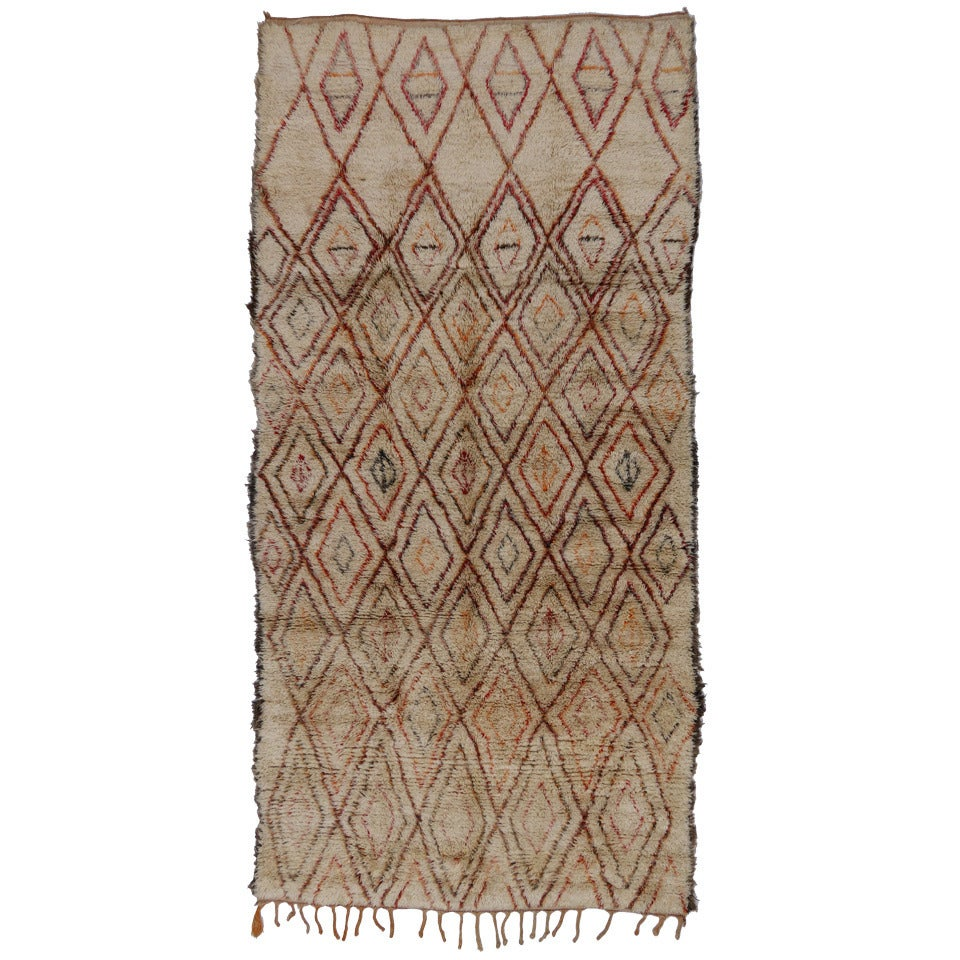 Mid-Century Modern Beni Ourain Moroccan Rug with Tribal Designs 1