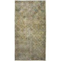 Vintage Turkish Sivas Area Rug in Muted Colors and Modern Industrial Style