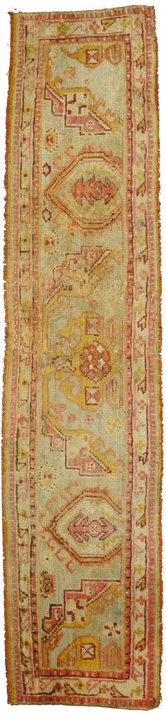 Antique Turkish Oushak Narrow Hallway Runner, Rare Antique Sampler Wagireh Rug