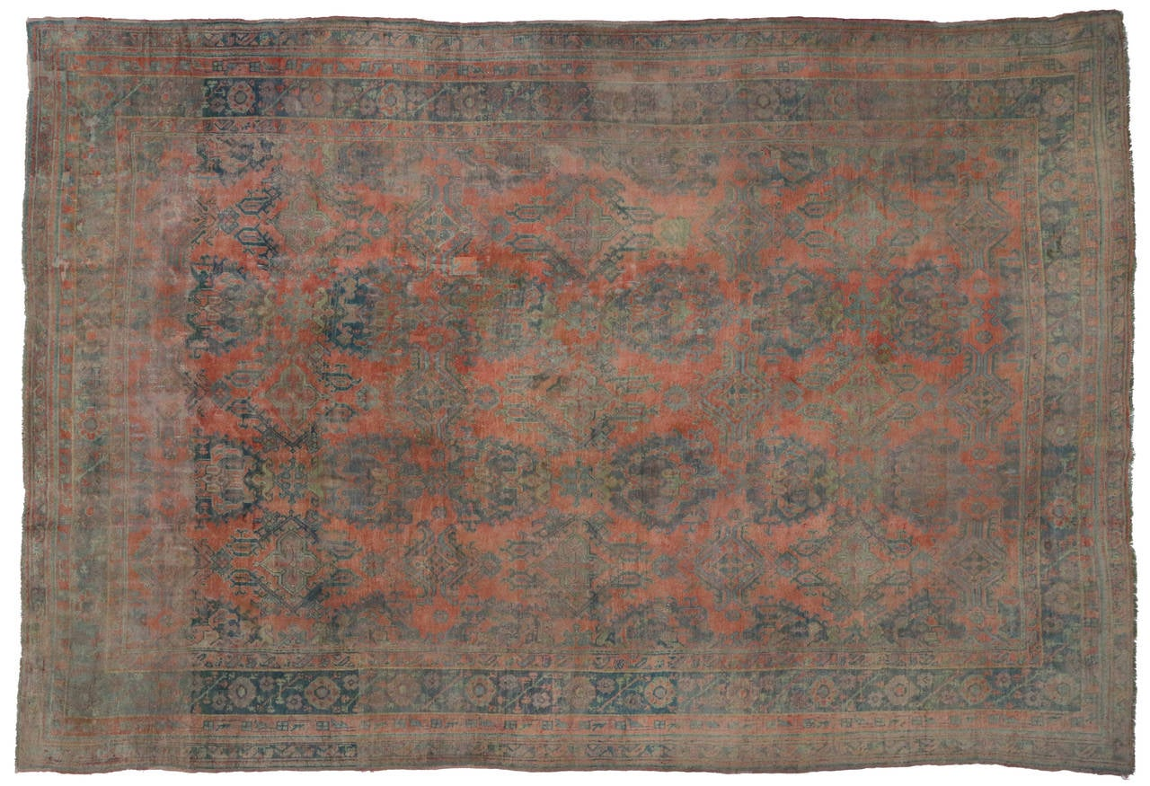 Antique Turkish Oushak Gallery Rug with Modern Design in Muted Colors 7