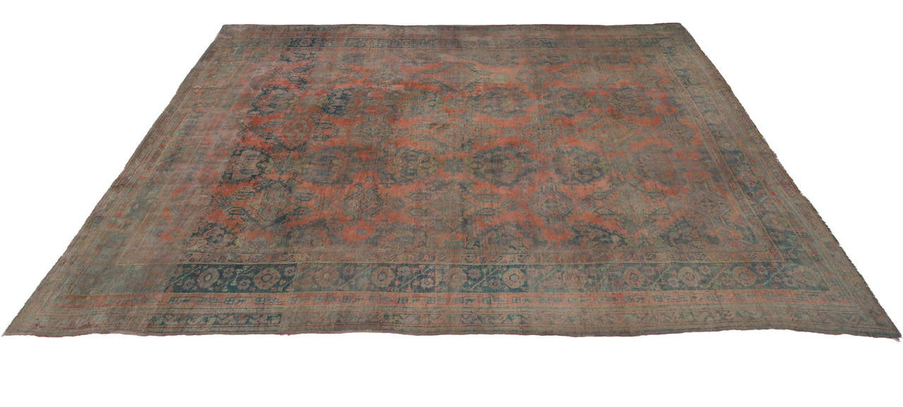 Antique Turkish Oushak Gallery Rug with Modern Design in Muted Colors 3
