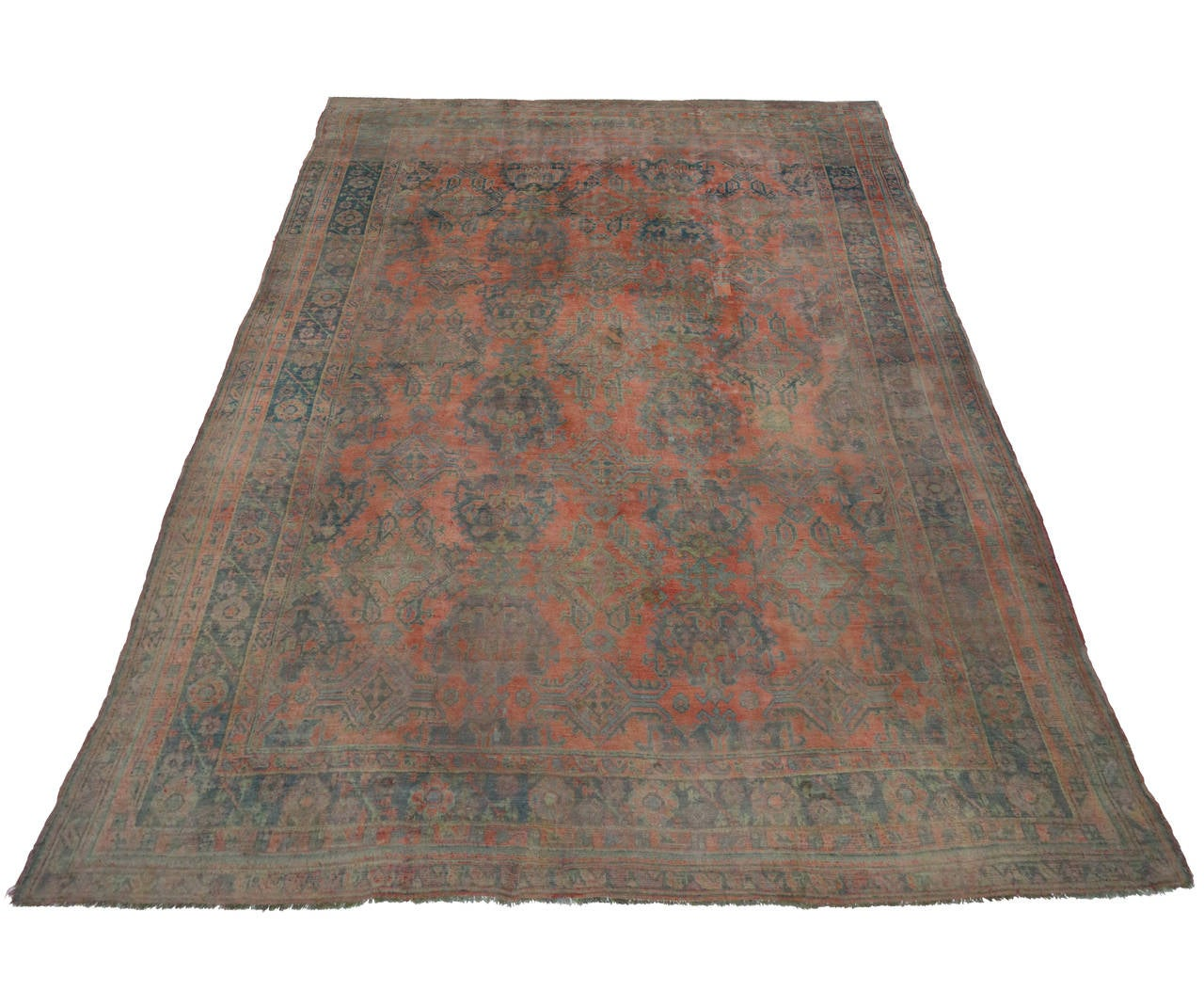 Antique Turkish Oushak Gallery Rug with Modern Design in Muted Colors 5