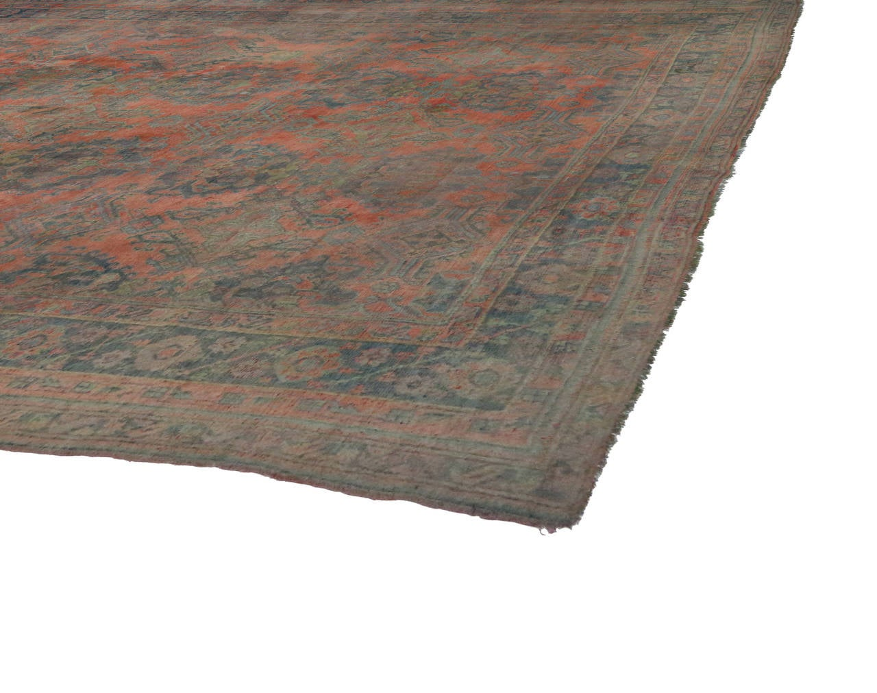 Antique Turkish Oushak Gallery Rug with Modern Design in Muted Colors 6