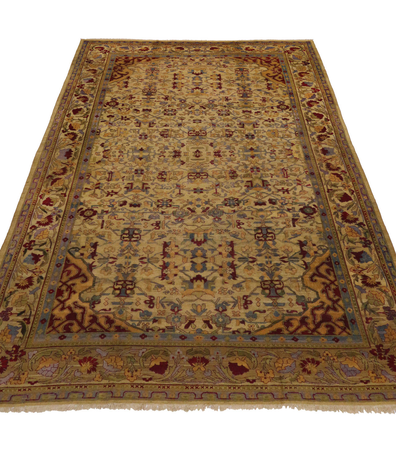 Antique Indian Agra Gallery Size Rug With Art Deco Style