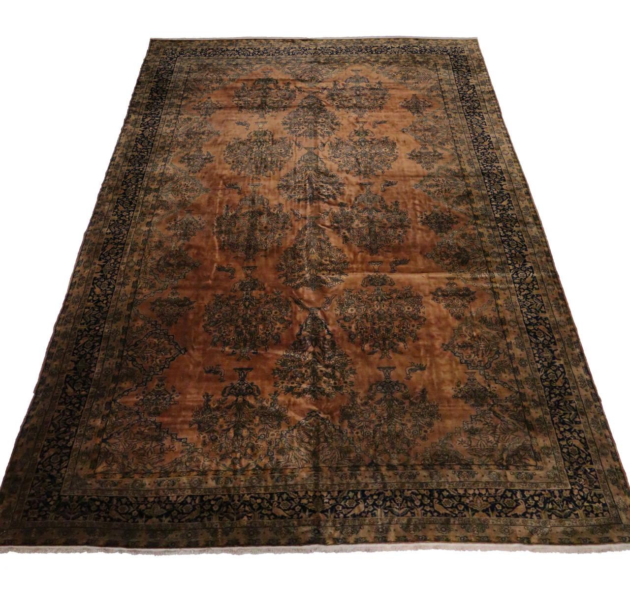 Antique Persian Kashan Kork Manchester Wool With Art
