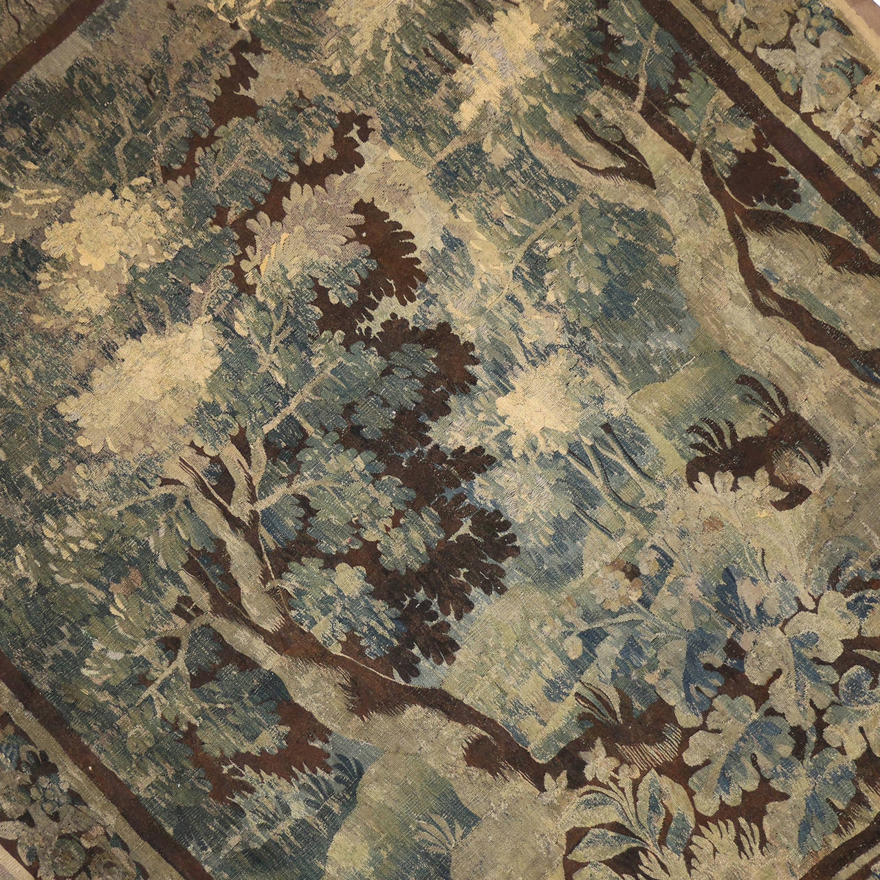 Hand-Woven Mid-18th Century Louis XIV Style Antique French Aubusson Verdure Tapestry For Sale