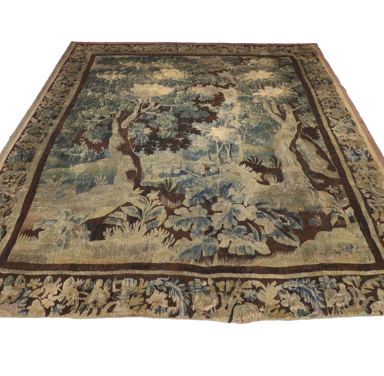 Mid-18th Century Louis XIV Style Antique French Aubusson Verdure Tapestry In Distressed Condition For Sale In Dallas, TX