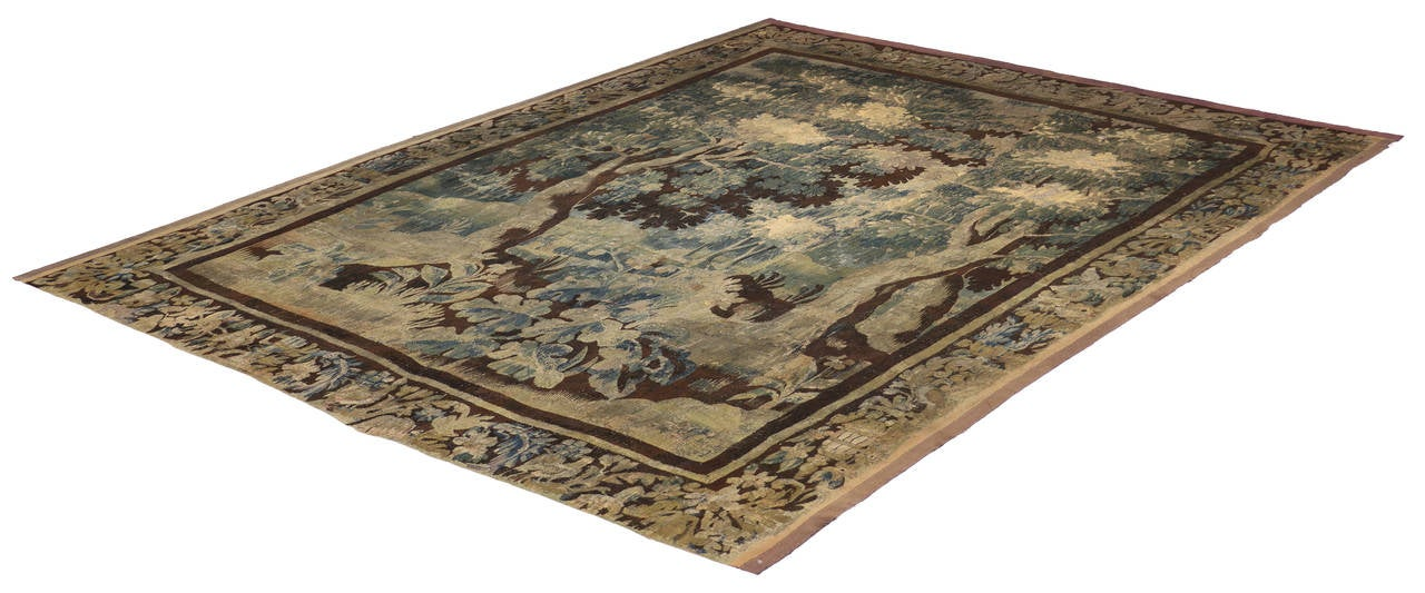 Wool Mid-18th Century Louis XIV Style Antique French Aubusson Verdure Tapestry For Sale