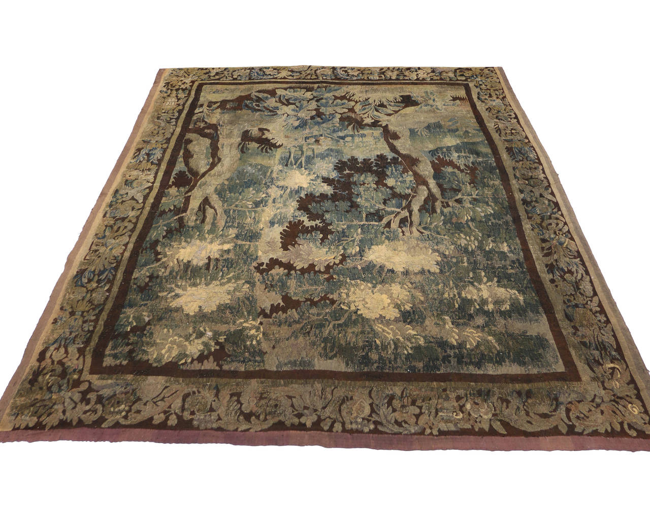 Mid-18th Century Louis XIV Style Antique French Aubusson Verdure Tapestry For Sale 1