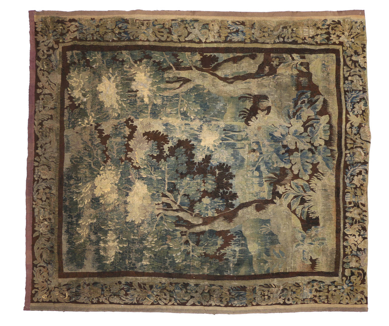 Mid-18th Century Louis XIV Style Antique French Aubusson Verdure Tapestry For Sale 2