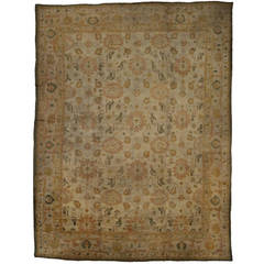 Antique Turkish Oushak Angora Wool Oversize Rug