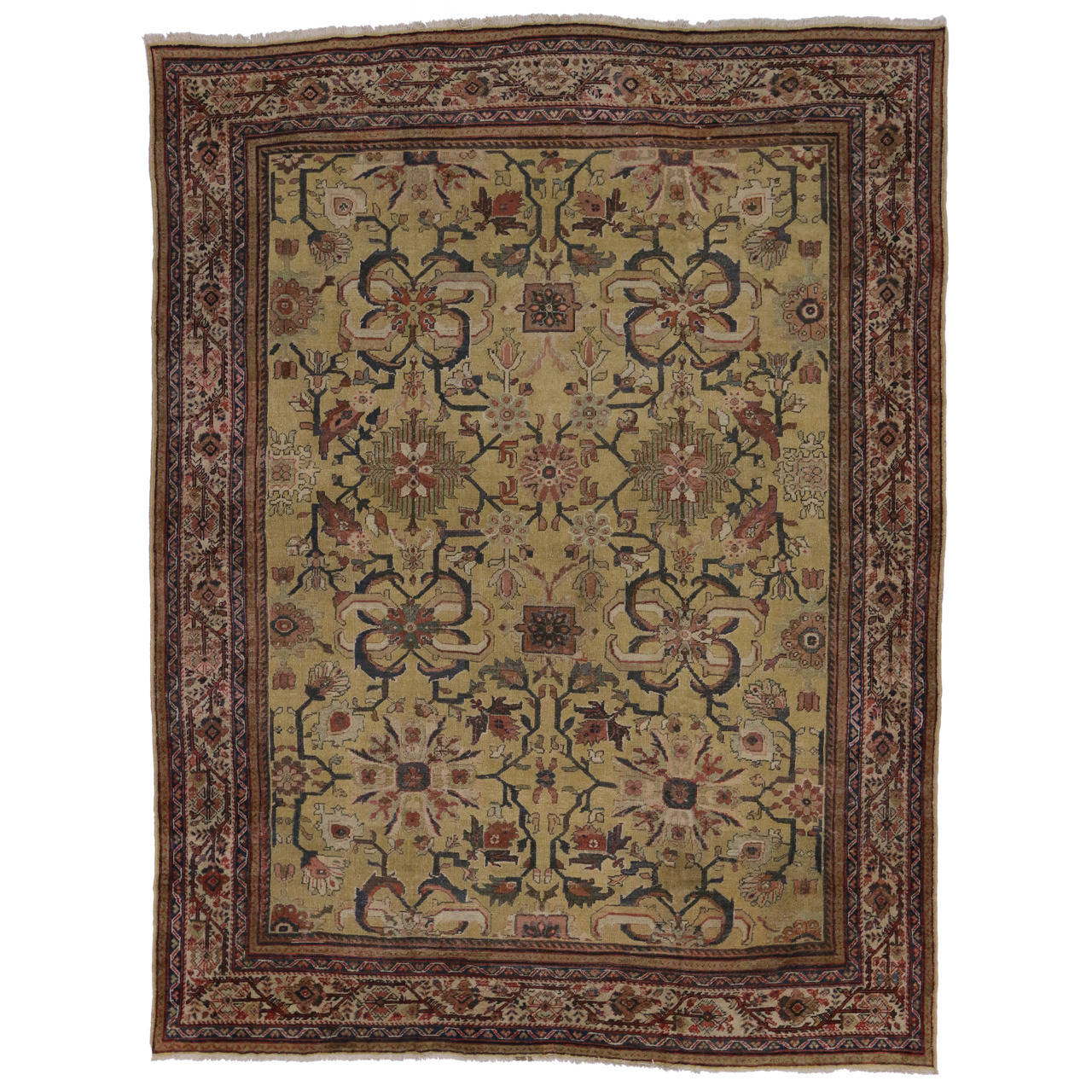 Antique Persian Sultanabad Rug With Modern Style For Sale