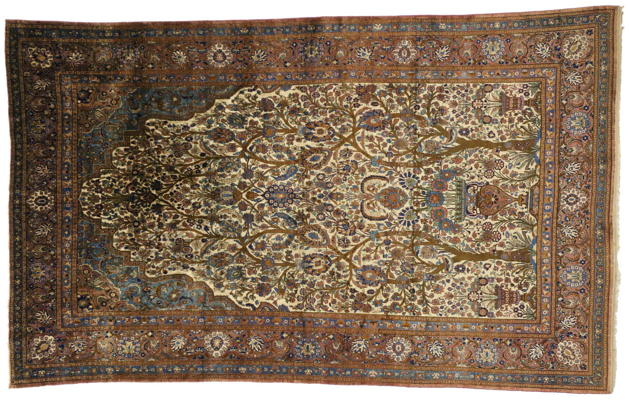 Antique Persian Mohtasham Kashan Silk Directional Rug with Neoclassic Style For Sale 2