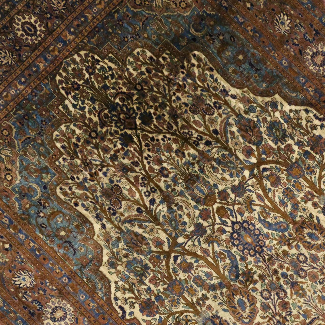 Antique Persian Mohtashem Kashan Silk Rug For Sale At 1stdibs