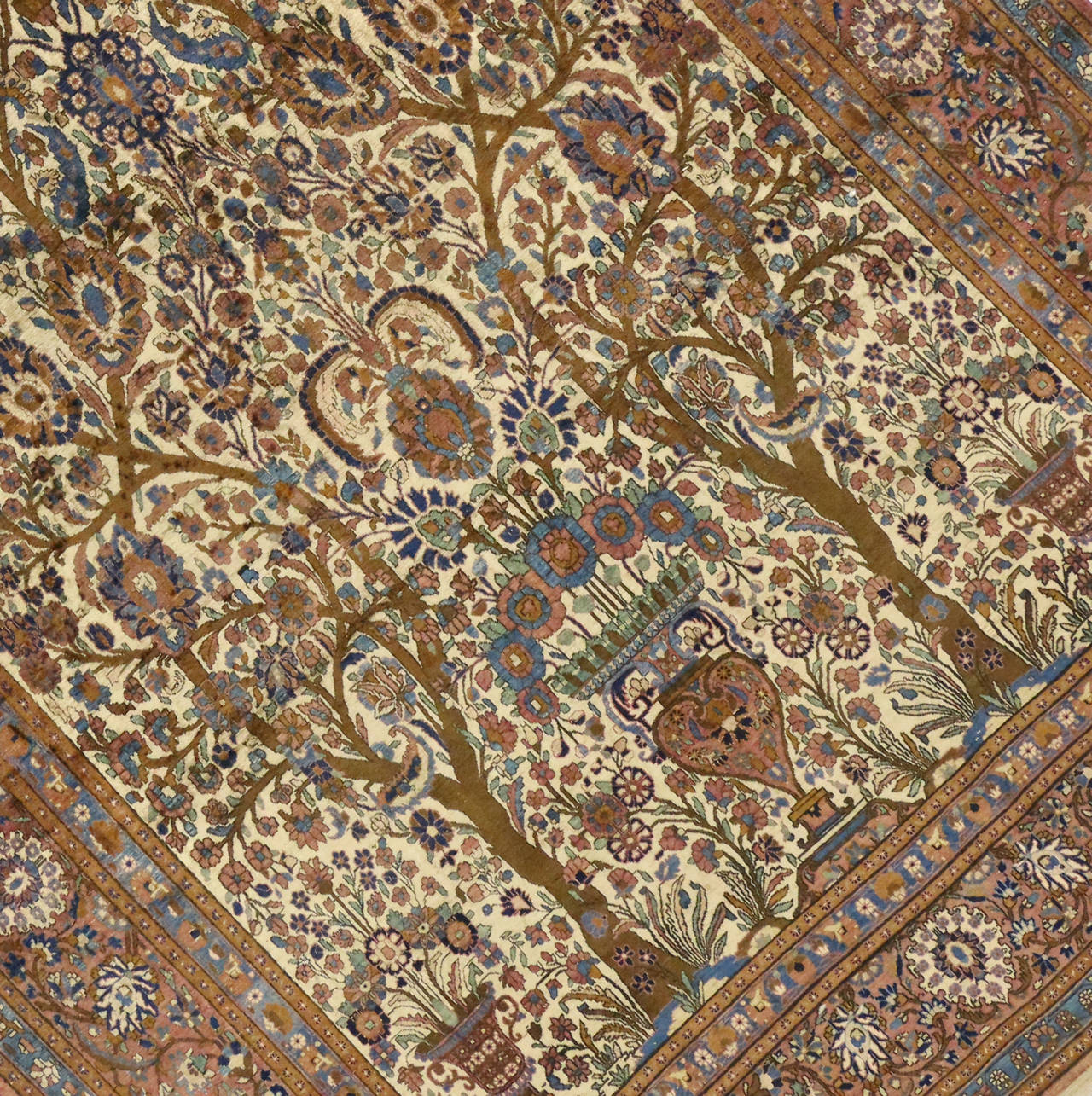 Antique Persian Mohtasham Kashan Silk Directional Rug with Neoclassic Style In Good Condition For Sale In Dallas, TX