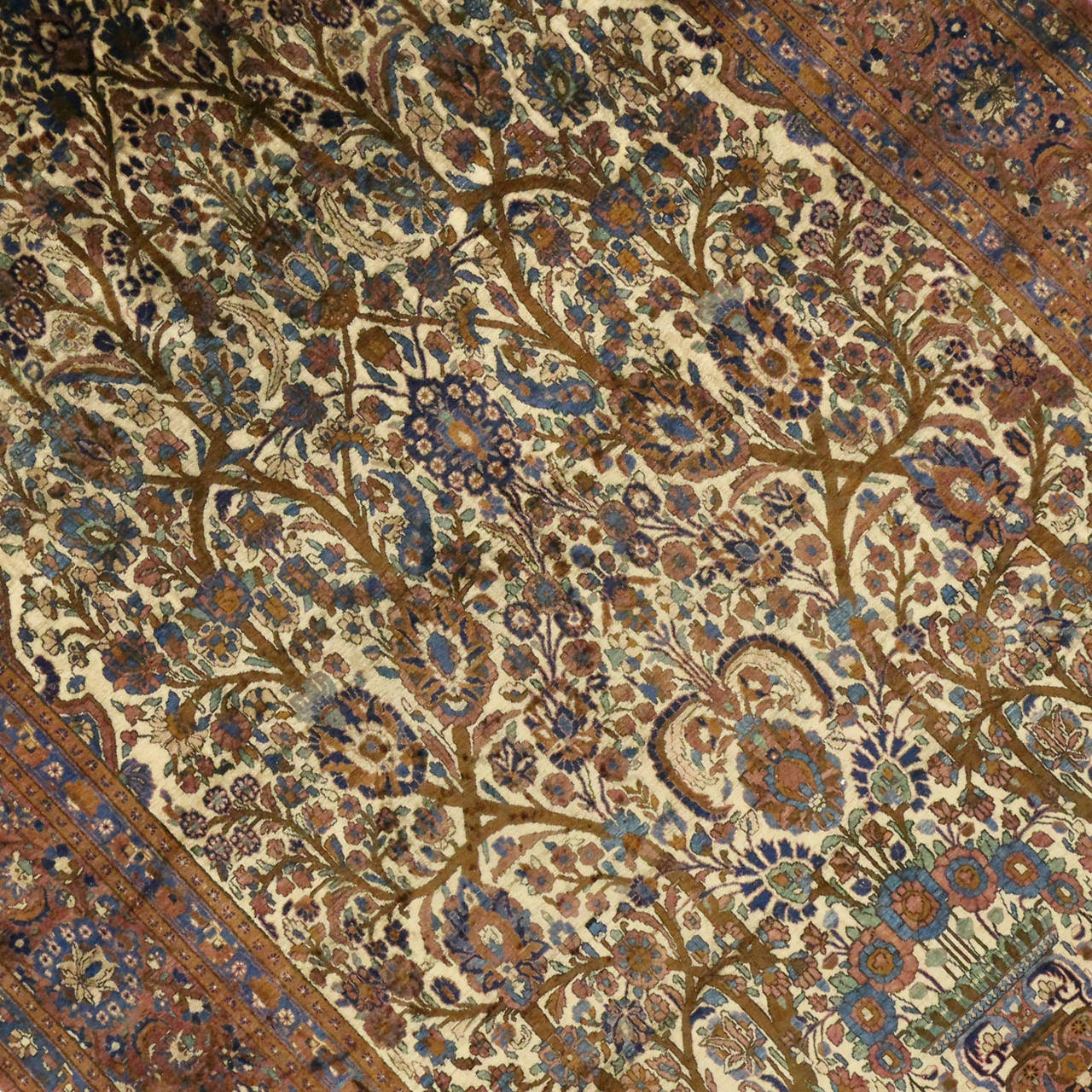 Hand-Knotted Antique Persian Mohtasham Kashan Silk Directional Rug with Neoclassic Style For Sale