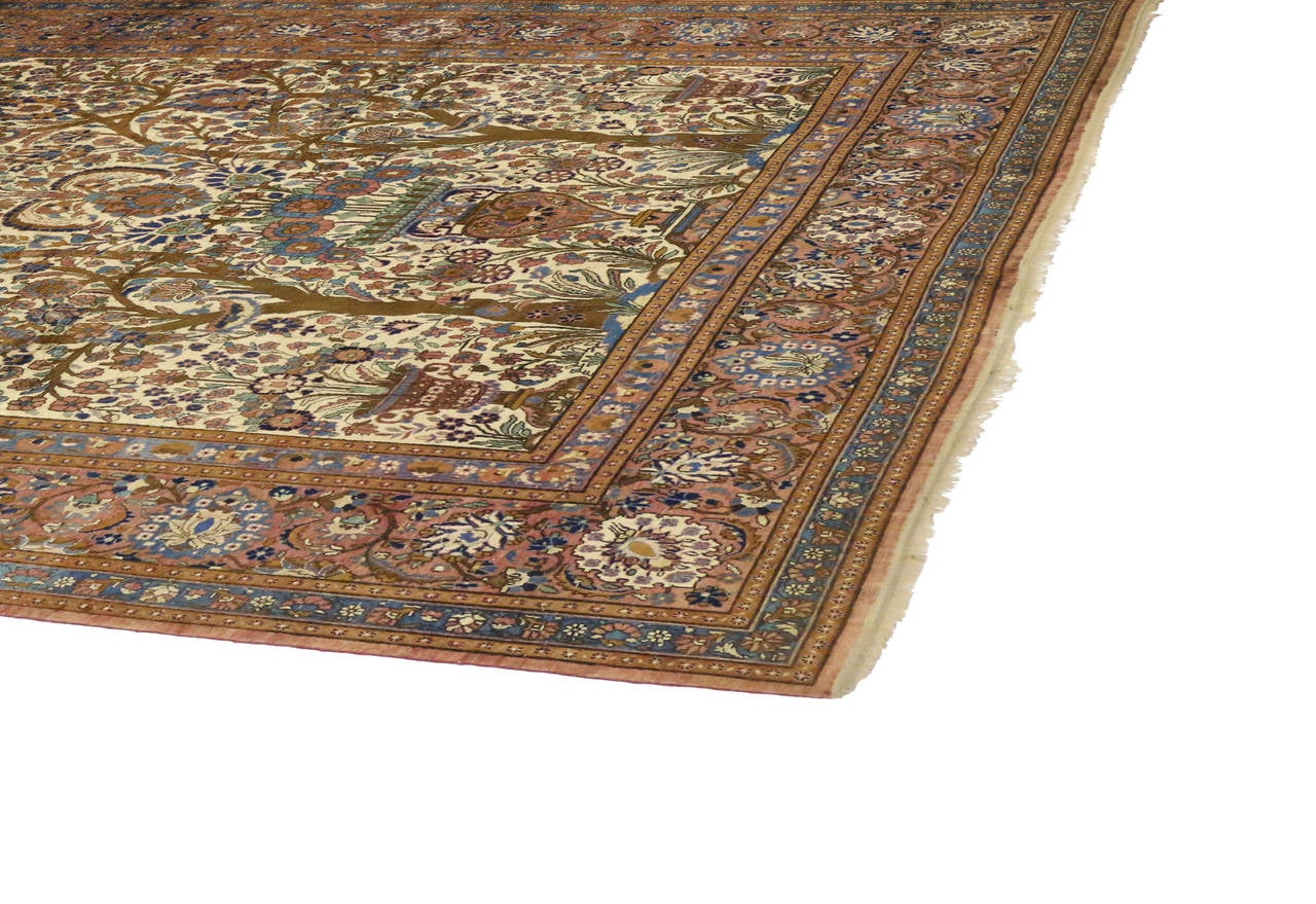 19th Century Antique Persian Mohtasham Kashan Silk Directional Rug with Neoclassic Style For Sale