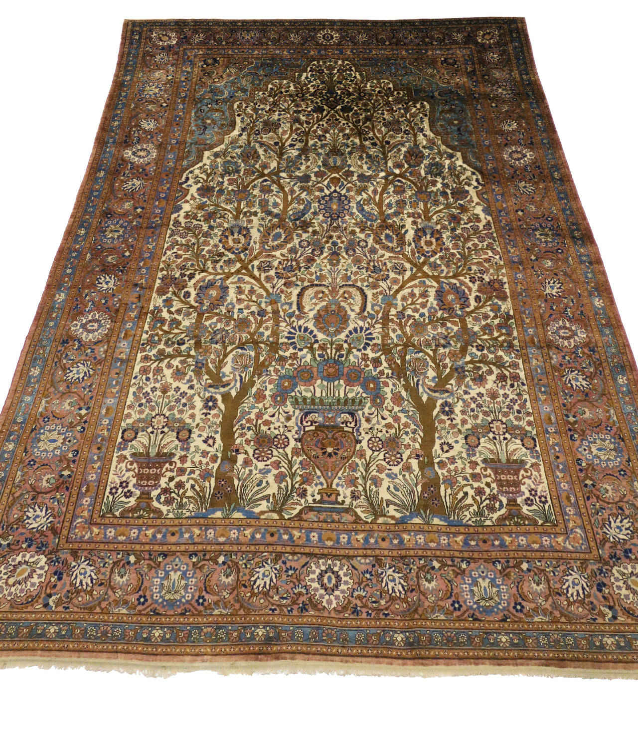 Antique Persian Mohtasham Kashan Silk Directional Rug with Neoclassic Style For Sale 1