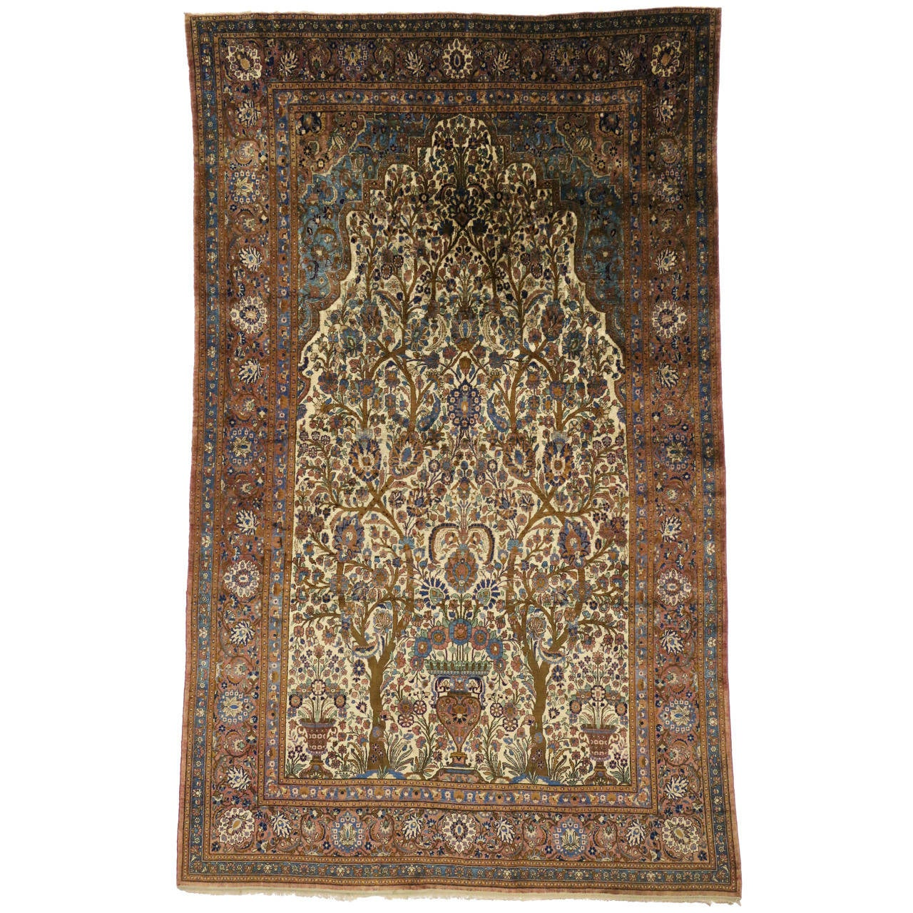 Antique Persian Mohtashem Kashan Silk Rug For Sale At 1stdibs