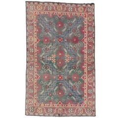 Antique Indian Agra Accent Rug with English Country Cottage Style