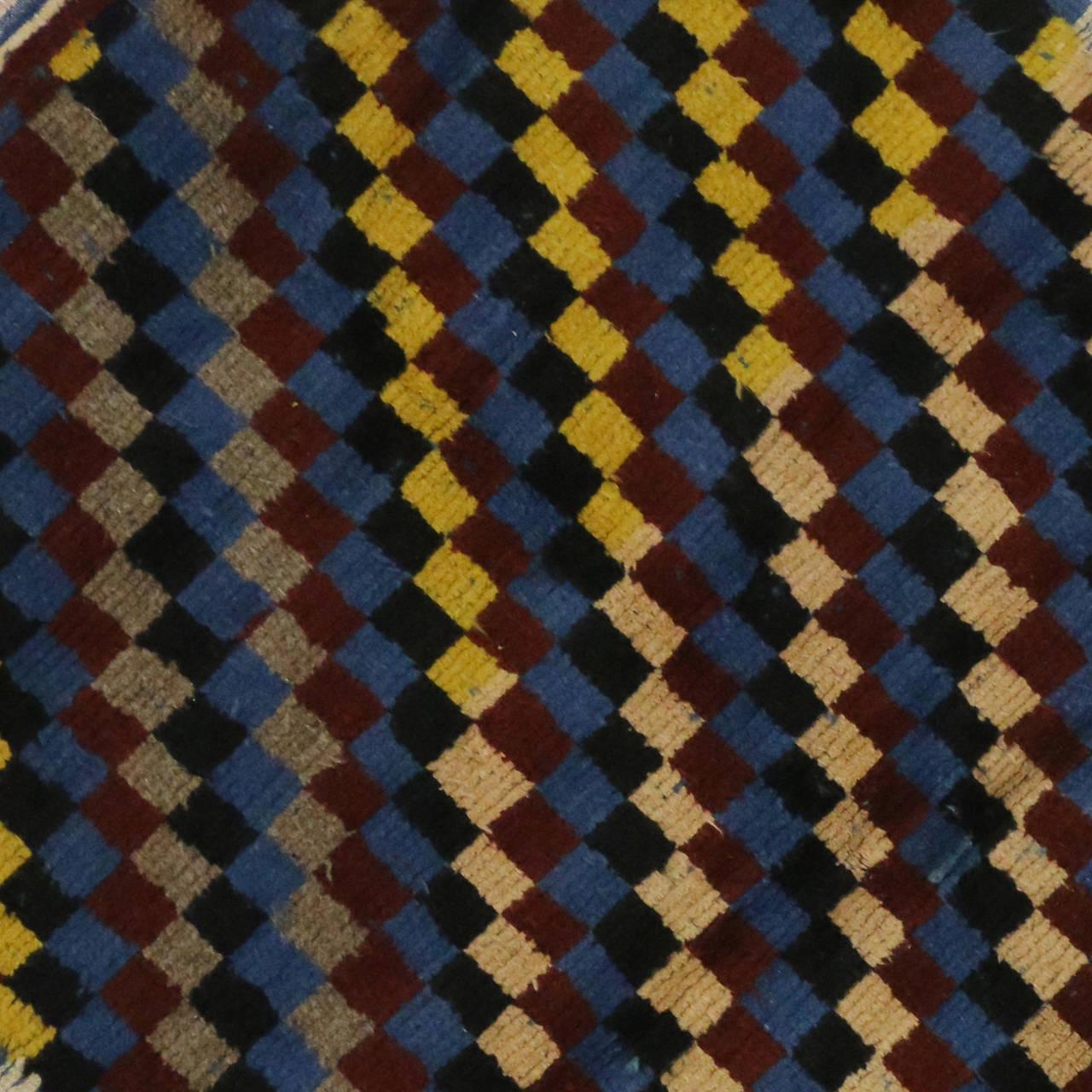 Checkerboard Rug: Vintage Turkish Tulu Checkerboard Pattern Rug With Mid