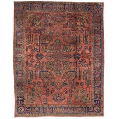 Antique Persian Mahal Oversize Rug with Modern Design in Jewel-Tone Colors