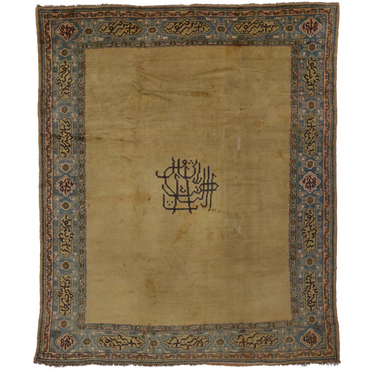Late 19th Century Antique Turkish Oushak Area Rug With