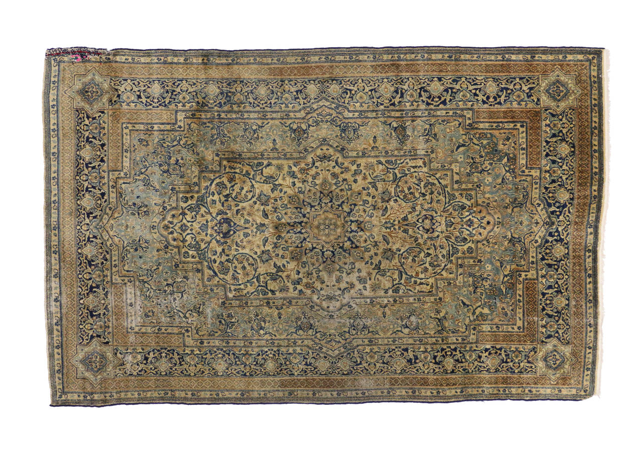 Antique Persian Kerman Area Rug with Hollywood Regency Style, Persian Kirman Rug For Sale 2