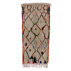 Contemporary Abstract Berber Moroccan Azilal Runner with Tribal Design