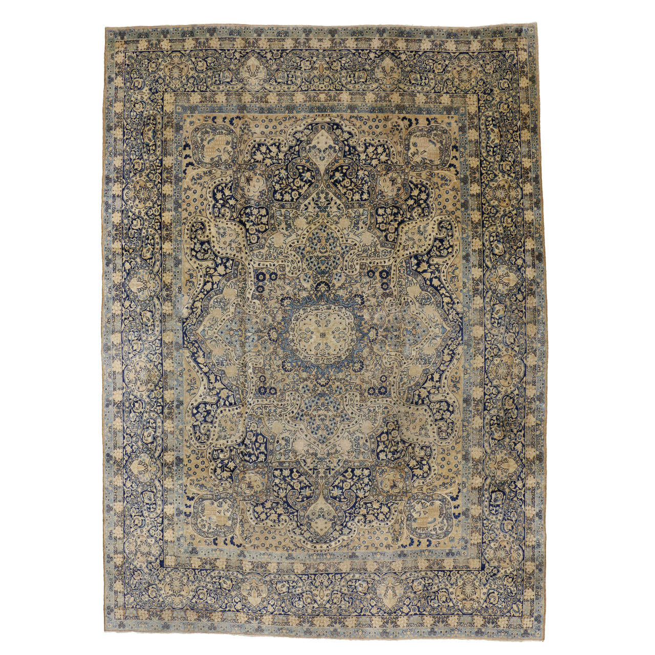 Antique Persian Yazd Oversize Rug With Hollywood Regency Style For